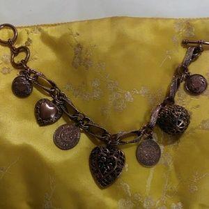 Vintage copper charm bracelet
